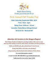 Vendors Wanted! 1st Annual Notre Dame Fall Vendor Fair