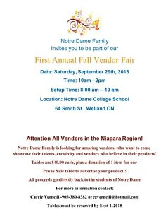 Vendors Wanted! 1st Annual Notre Dame Fall Vendor Fair