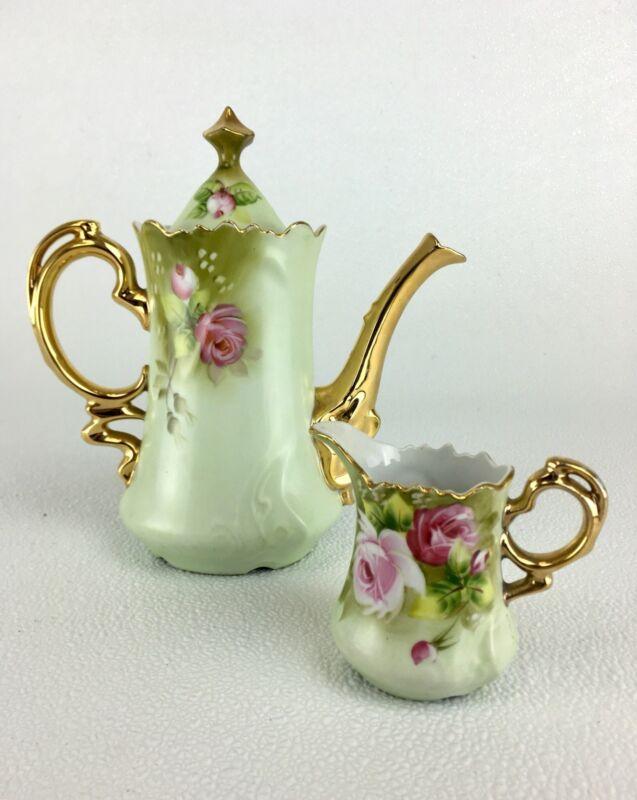 Lefton China Heritage Green Rose Coffee Pot + Creamer