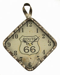 Distressed Style Route 66 Metal Wall Clock 9.5 x 12.75 x 2 inches