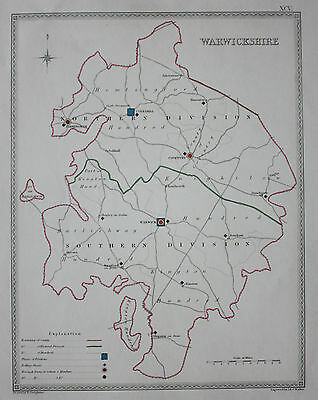 Original antique map WARWICKSHIRE POLITICAL Samuel Lewis, J&C Walker, c.1835