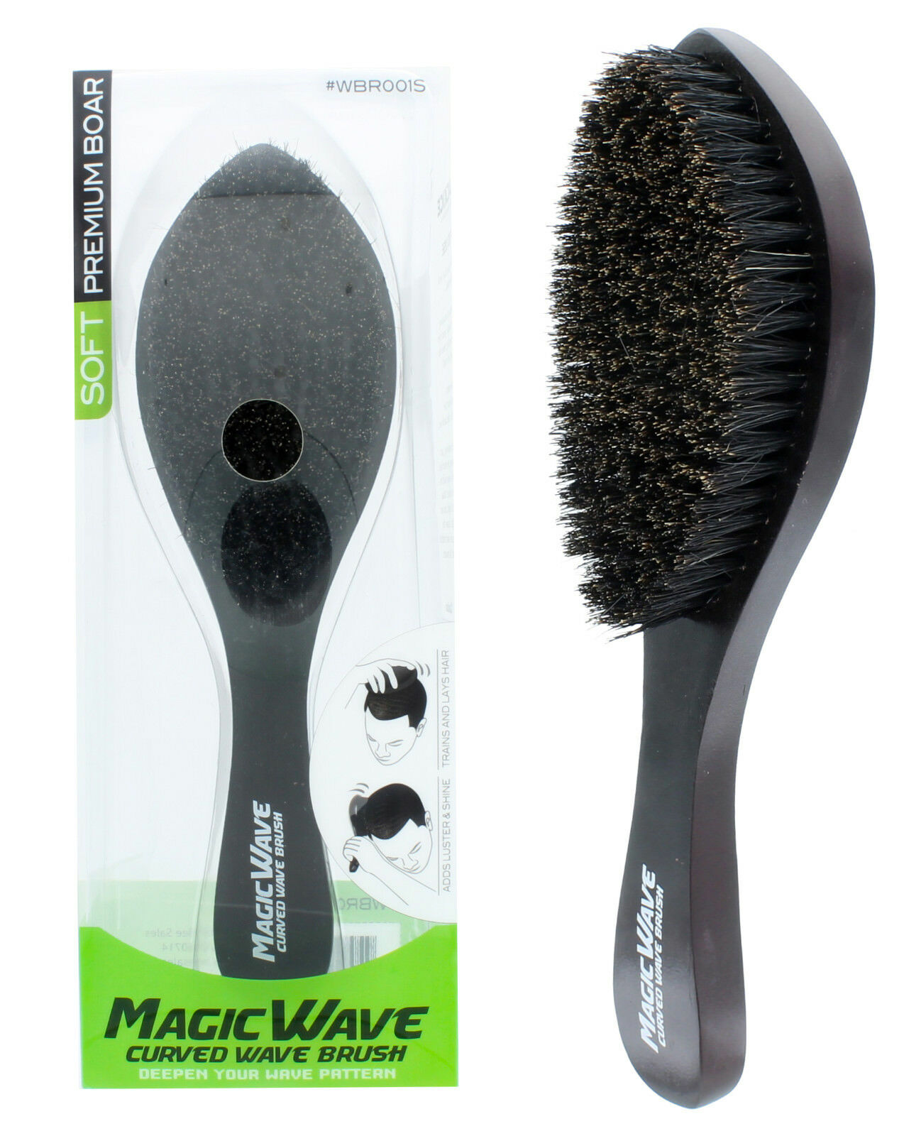Black Ice Magic Wave 9.25'' Curved Wave Brush Soft Premium B