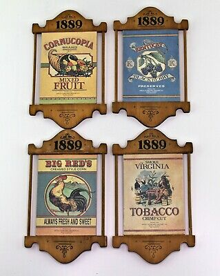 4 vintage country kitchen wooden advertising signs food tobacco plaques