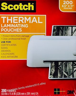 Scotch Thermal Laminating Pouches Letter Size 3 Mil 8.5 X 11 Inches 200 Sheets