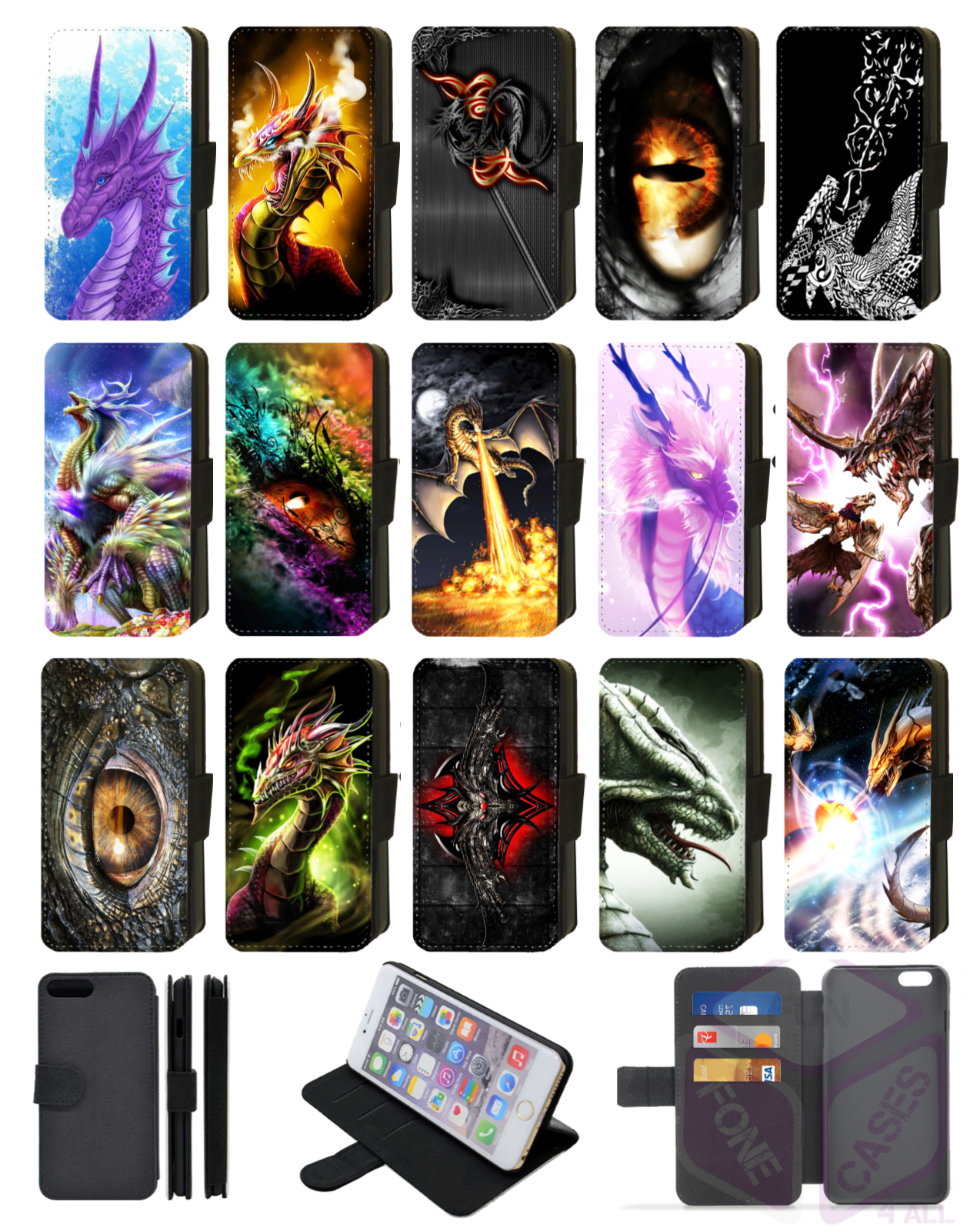 DRAGON GOTHIC ABSTRACT Flip Phone Case Cover Wallet Galaxy 7 8 9 10 Comp