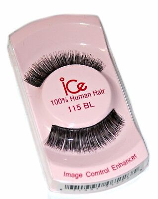 ice False Eyelashes 100% Human Hair, Black (115BL)