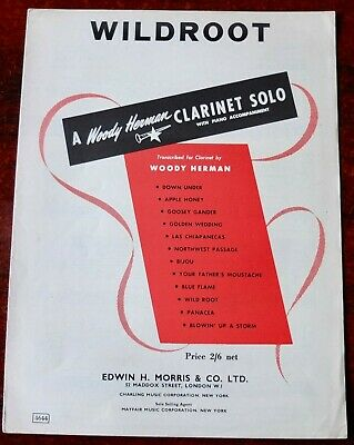 WOODY HERMAN WILDROOT CLARINET SOLO SHEET MUSIC (1945) ENGLAND PIANO ACC.