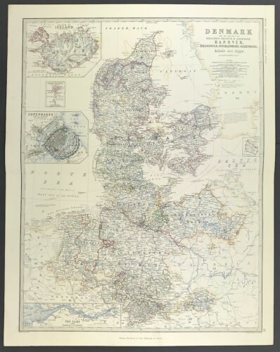Large Antique Map of Denmark c1869 Keith Johnston Royal Atlas original colour