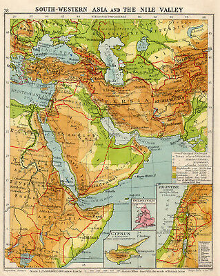 Map Of South Western Asia & The Nile Egypt Persia Valley C1933 Old Vintage