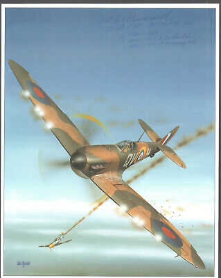 """SUPERB COLOR BOOK PHOTO SIGNED by """"JERRY COLLINSWORTH"""" SPITFIRE FIGHTER ACE!"""