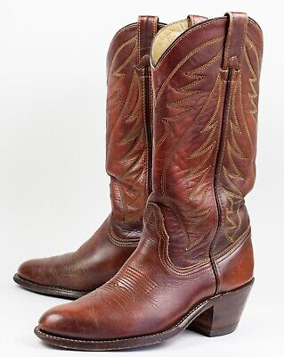 Double H Brown Leather Stitched Patterned Cowboy Western Boots Mens Size 7.5 D