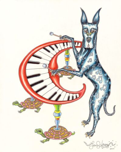 GREAT DANE PLAYING XYLOPHONE Jamie Hayes NEW ORLEANS PIANO TURTLE