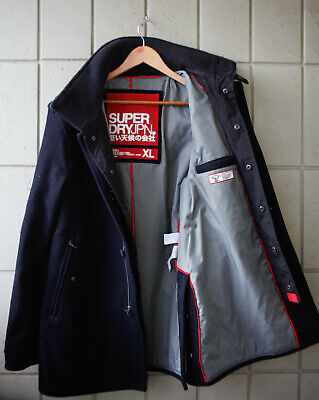 Superdry Double Black Label Jermyn Pea Coat Trench Wool XL excellent condition