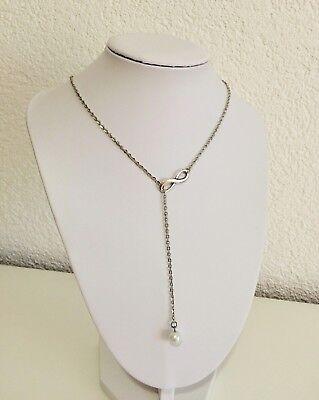 Damen Halskette Party modern Kette Schmuck Infinity Unendligkeit Perle silber