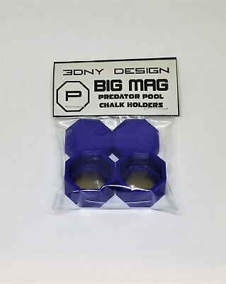 Octagon BIG MAG Pool Chalk Holder w/ Lid 2 Pack Fits Predator 1080 Chalk  - Chalk Holders