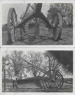 Huge Plow Agricultural Equipment RPPC Real Photo vintage postcard unused pair