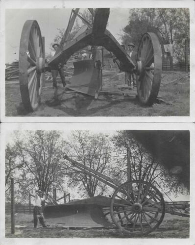 Huge Plow Agricultural Equipment RPPC Real Photo vintage postcard unused pair