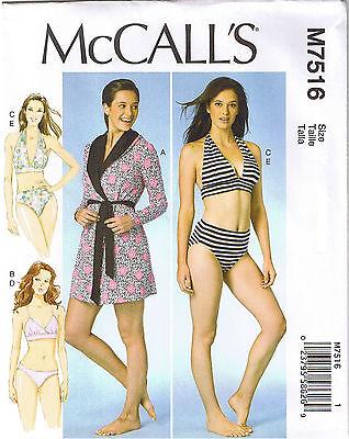 Robe Hood Belt T-Back Halter Bra Brief Bikini Panties Sewing Pattern XS S M 4-14