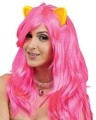 Rosa Neon Pony Perücke & Ohren Erwachsene Cosplay Sexy Tier Halloween Kostüm ()