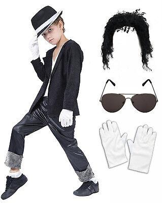 Boys Michael Jackson Bad Black 80 90s Fancy Dress Costume Wig Glasses Gloves Hat ()