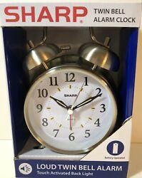 Sharp Twin Alarm Clock Quartz Silver Backlight LOUD Wake Old Fashioned bell glow