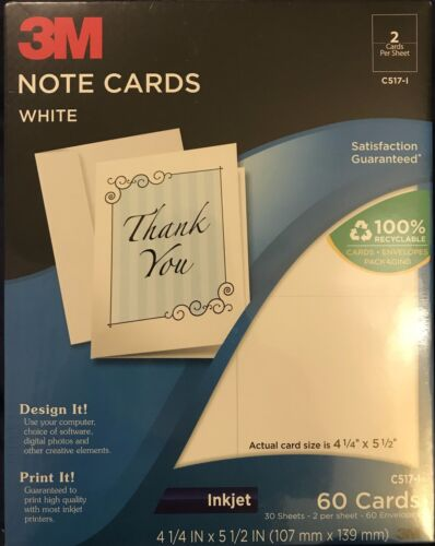 """3M White Note Cards C517-I 4-1/4"""" x 5-1/2"""" 60 Cards"""