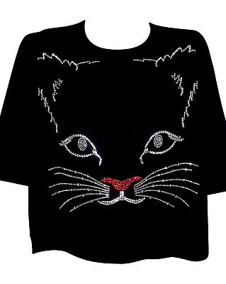 ALL SIZES $29 BRAND NEW CFA CAT FACE TERAZZO. WOMEN'S 100% COTTON PULLOVER](All Black Face Halloween)