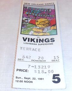 1991 NEW ORLEANS SAINTS MINNESOTA VIKINGS TICKET STUB