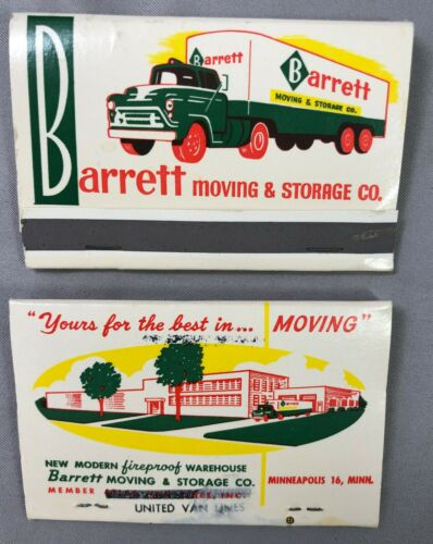 2 Barrett Moving TRUCK Minneapolis MATCHBOOK Original VINTAGE