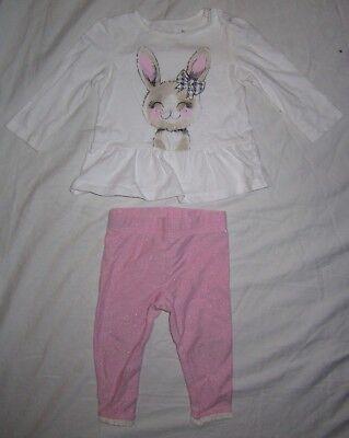 Infant Girls JUMPING BEANS Peplum Bunny Shirt &WK Legging Pants Outfit 12 months (Bunny Jumping)