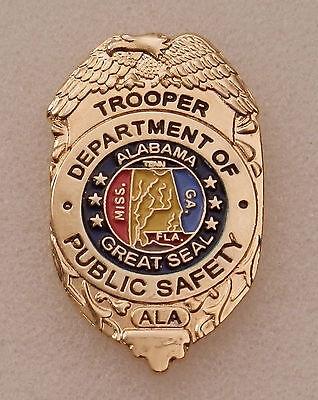 Alabama Dept of Public Safety TROOPER mini badge LAPEL PIN full color version