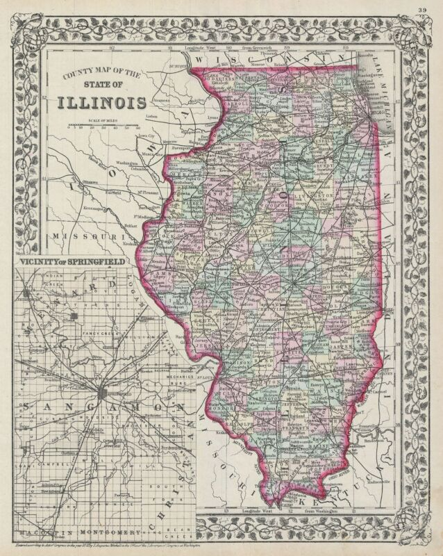 1872 Mitchell Map of Illinois