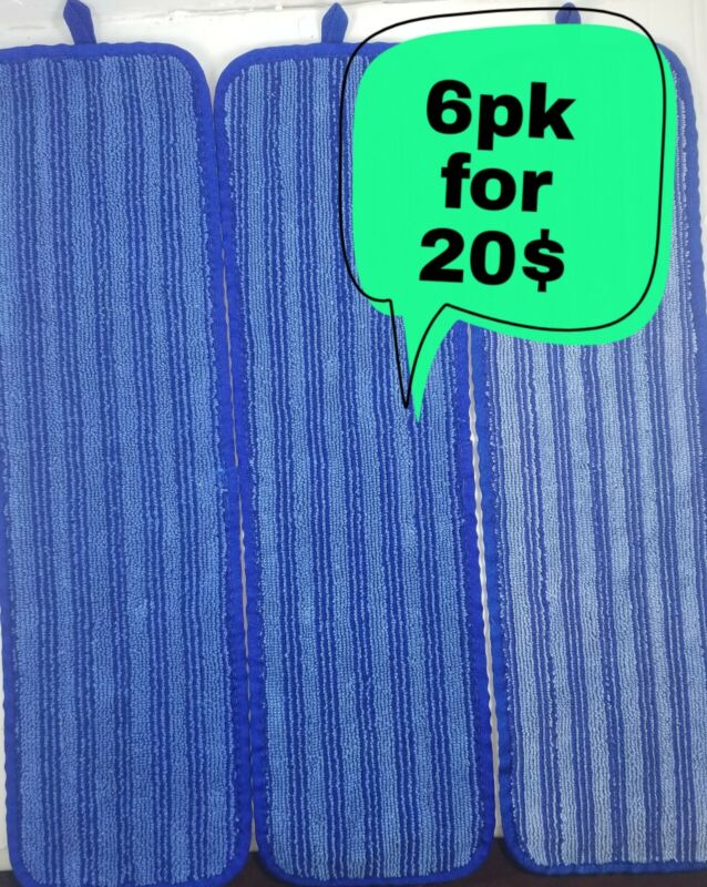 RUBBERMAID (CINTAS) 6pk for 20$ microfiber flat mop padsSTYLE #2