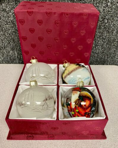LOT OF 4 OLD WORLD CHRISTMAS GLASS ORNAMENTS INSIDE ART BALLS IN BOX