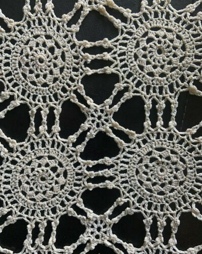 ANTIQUE-VINTAGE CROCHET TABLECLOTH KNIT 1910-1920 ECRU COUNTRY SCALLOPED