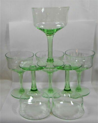 VTG 6 RARE GREEN DEPRESSION VASELINE GLASS STEMS WINE SHERBET URANIUM MARTINI?