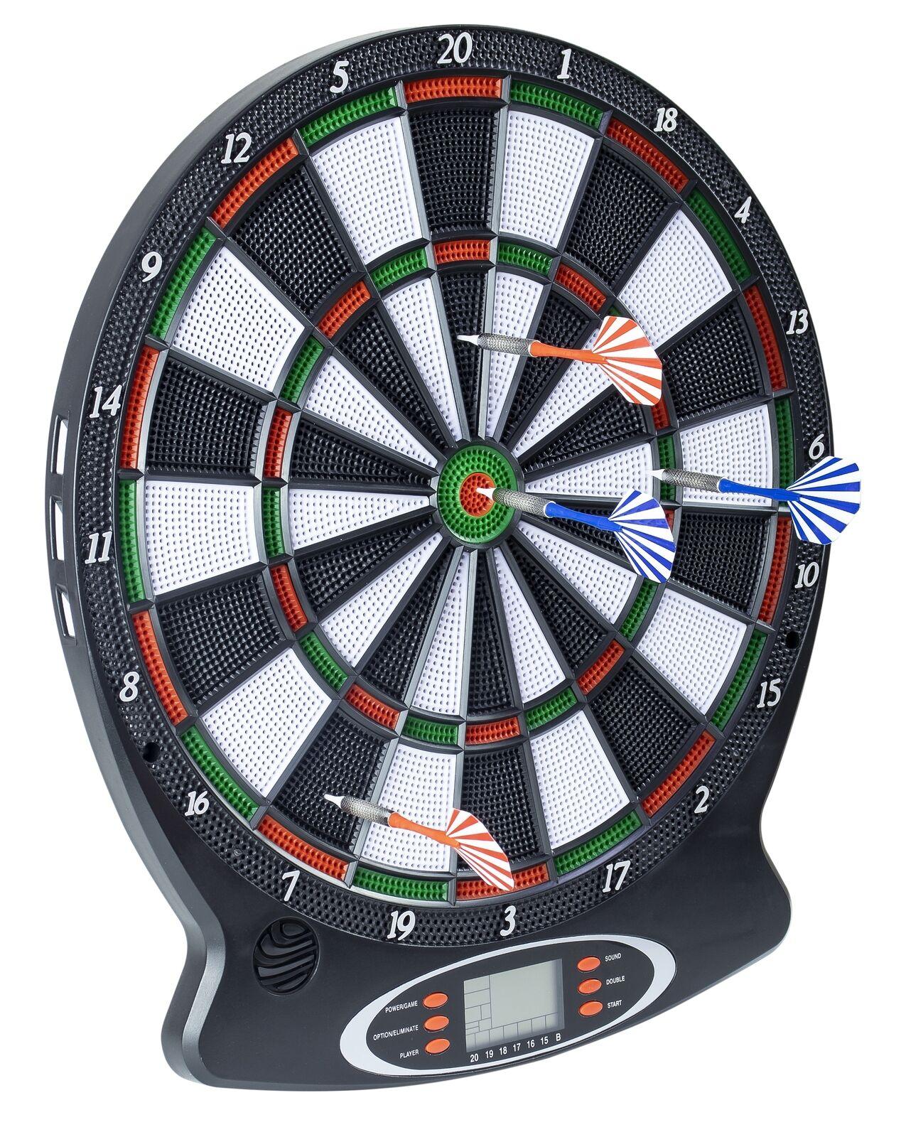Elektronische Dartscheibe 1-8 Spieler 6 Softdarts Pfeile Dartboard Score Display