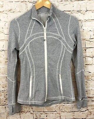 Lululemon womens 10 define jacket Ghost herringbone Classic zip gray/white BX3