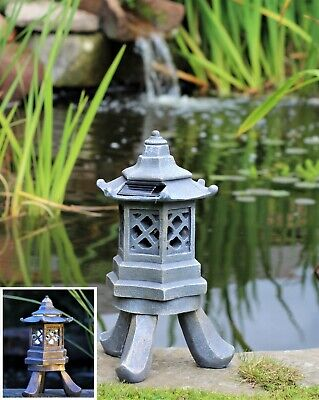 Garden Solar Ornament Chinese Pagoda, Japanese Lantern decor Ceramic LARGE ()