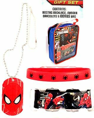 MARVEL Ultimate Spider-Man GIFT SET (Dog Tag Necklace,Rubber Bracelets & Bag)NWT
