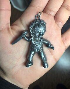 New silver coloured chucky doll pendant charm