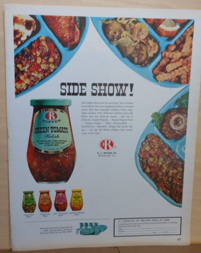1964 magazine ad for Ritter Relishes - Side Show! Green Tomato, Pepper Corn plus