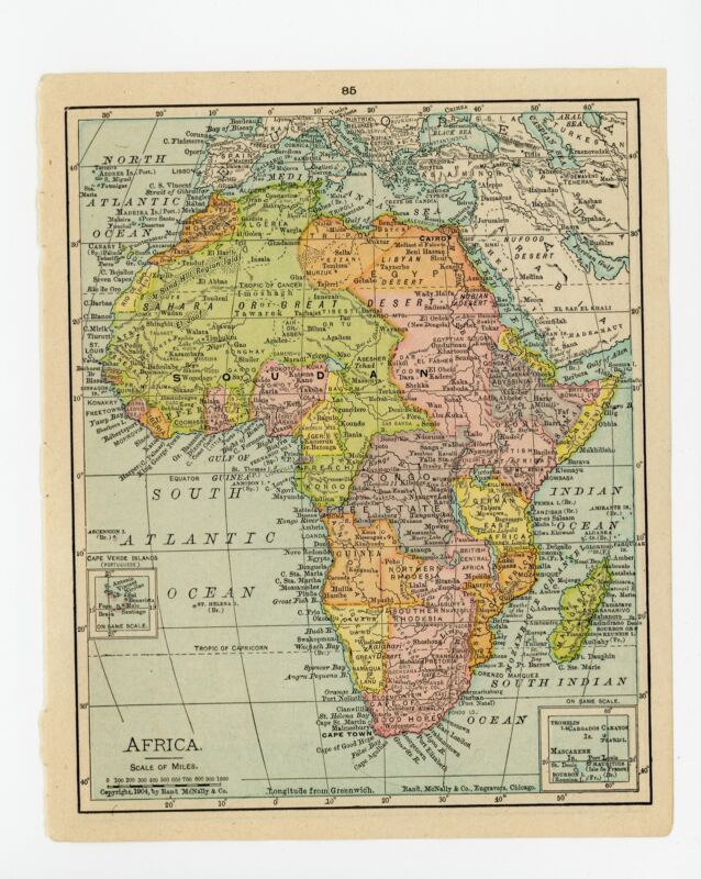1911 Concise Atlas Vintage Map Pages - Africa on one side Northwestern Africa...