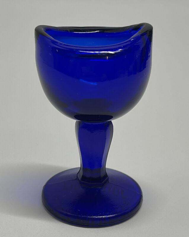 Antique Cobalt Blue Glass John Bull Eye Wash Cup Patented August 14, 1917