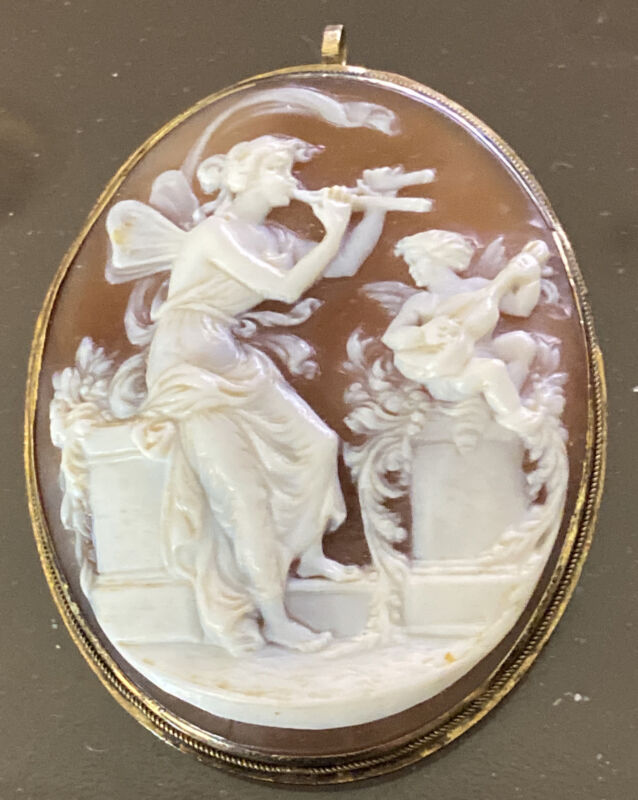 Museum Quality Finely Carved Victorian Mythology scenic Cameo with angels 14k