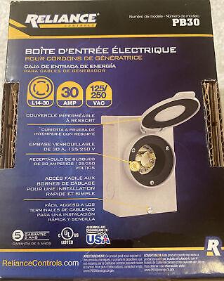 New Reliance Pb30 30 Amp Outdoor Generator Power Inlet Box 7500 Watt Usa 5860903