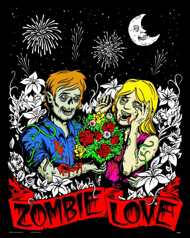 Zombie Love - Large 16x20 Inch Fuzzy Velvet Coloring Poster