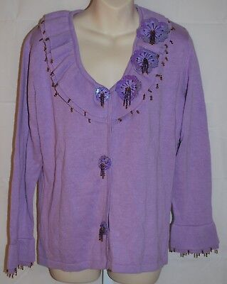 Storybook Knits Lavender Luster Button Down Sweater Women's Size Small NWT
