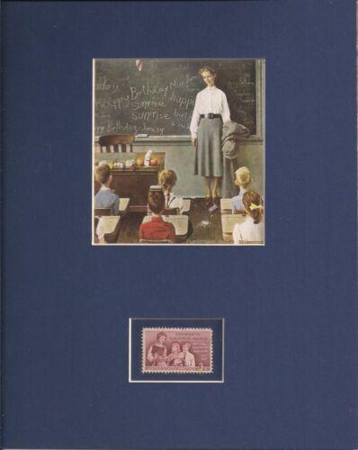 TEACHER APPRECIATION - NORMAN ROCKWELL - FRAMEABLE POSTAGE STAMP ART - 0760