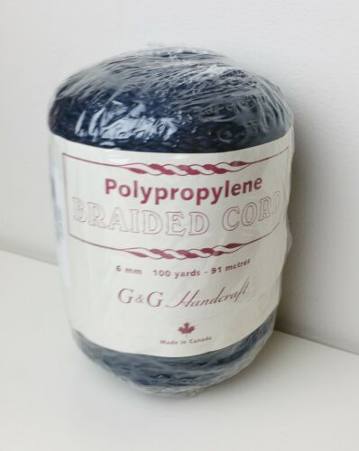 Vintage Braided Cord for Macrame Rope Dark Navy Blue 100 Yards 6 mm SEALED Roll